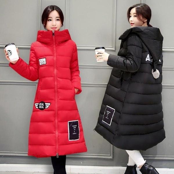 女性の冬ダウンコートカジュアルスリムジッパーフード付きアップリケロングジャケットプラスサイズS-XXXL