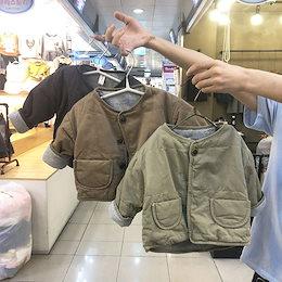 2020年冬の子供服、レトロな無地のジャケット、男の子と女の子のための韓国風のシンプルなカジュアルカーディガン、綿の服