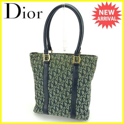 【中古】 ディオール Dior トートバッグ ショルダーバッグ トロッター ホワイト×ネイビー×ゴールド キャンバス×レザー 人気 T14939