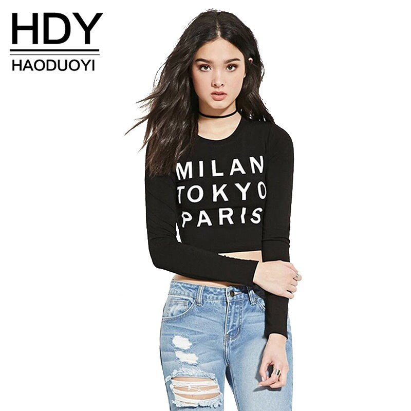 Letter Print Cottton Crop Tops O-neck Long Sleeve Sexy Slim Casual Tops Brief Style Soft Short Femal
