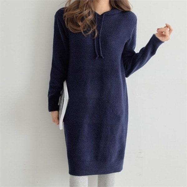 【ペッパー】フードニットロングワンピース#35035 new ニットワンピース/ワンピース/韓国ファッション