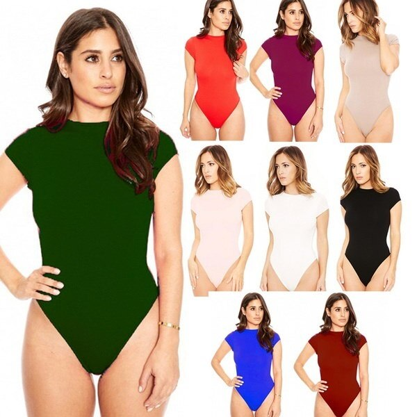 9 Colors Ladies Summer Bodysuit Sexy Solid Playsuit Fashion Nightclub O-neck Rompers