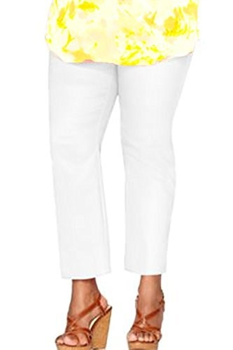 Charter Club Womens Plus Size Tummy Slimming Ankle Pants 24w White