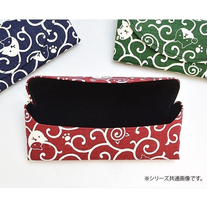 和雑貨 猫唐草模様 メガネケース 緑 W37-006_01