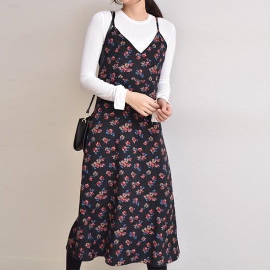 オーサムイザベラVフラワーロングワンピース233936 綿ワンピース/ 韓国ファッション