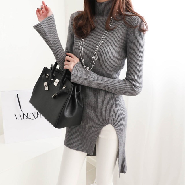 [Deming] Glam Fit trimmed Polar knit 3 color horn Sleeve knit Polar knit Long knit Winter knit Unbal