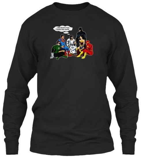 Jesus And Dc Super Heroes Gildan Long Sleeve Tee T-Shirt