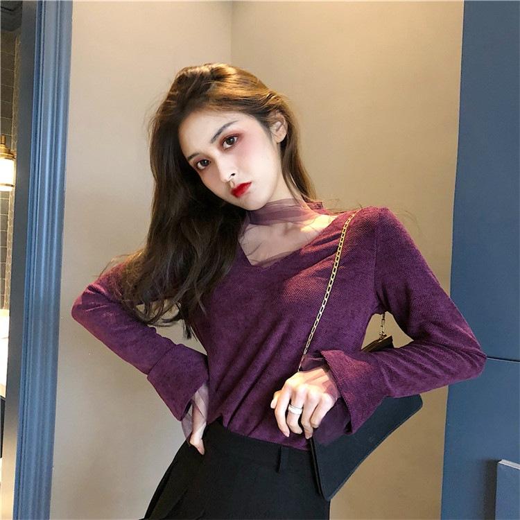 新色登場! 韓国ファッション !!2018新しい スタンドカラー メッシュ 香港スタイルの スリムフィット セクシー トップス ボトミングシャツ