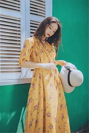 2f470f95da5ac 【夏先行即納SALE♥】 今季トレンド💓韓国ファッション ヴィンテージ イエロー Vネック