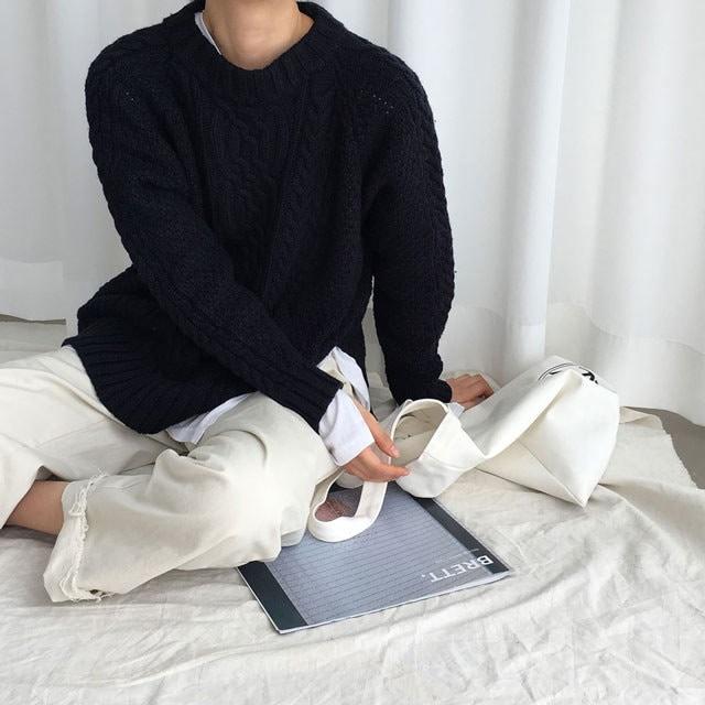 [ラルム】フリースプレッツェルニット3col korea fashion style