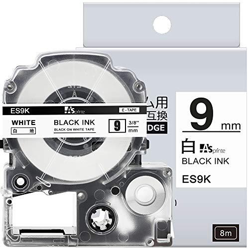 1個 9mm 白地黒文字 互換 キングジム テプラ テープ カートリッジ テプラPRO Kingjim tepra SS9K 8M ASprinte