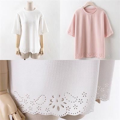 子供ウーマンパンチングレーススリムTWW1706ビックサイズ /ラウンドTシャツ/ Tシャツ/韓国ファッション