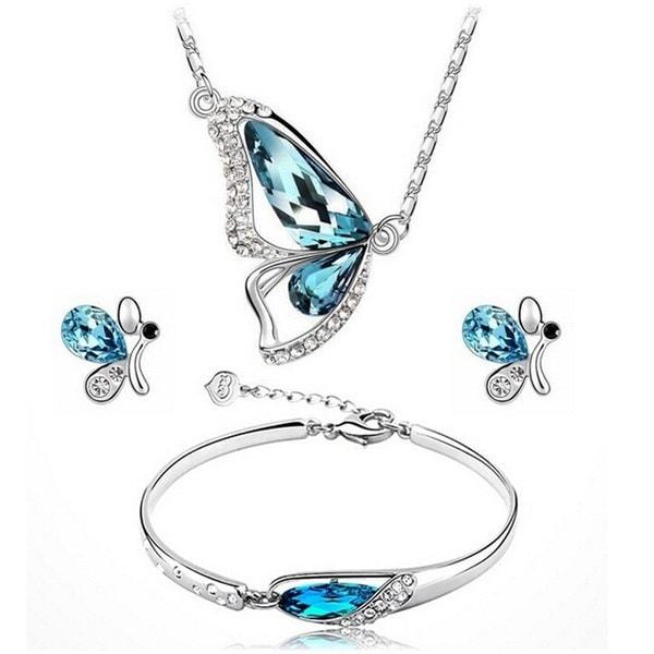 新しい蝶ジュエリーネックレス+イヤリング+ブレスレットクリスタルセットファッションPB(カラー:ブルー)