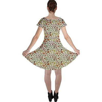 Colorful Floral Pattern With Butterflies On Beige Cap Sleeve Dress