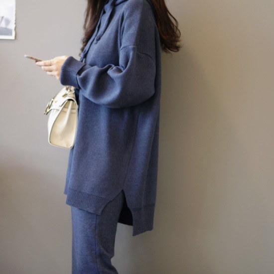 ガールズデイリーヘデルフードロング・ニットsrcLangTypeko ニット/セーター/ニット/韓国ファッション