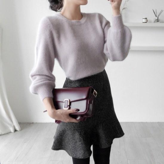 アップタウンホリック綿菓子アンゴラknit4color秋の身元パフ小売ラウンドネックボリュームニット ニット/セーター/ニット/韓国ファッション