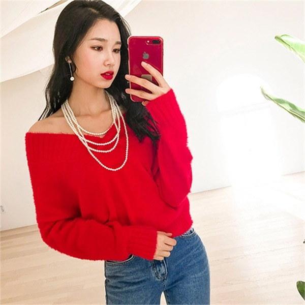 ローリングオフショルダー・ニットnew 女性ニット/ Vネックニット/韓国ファッション