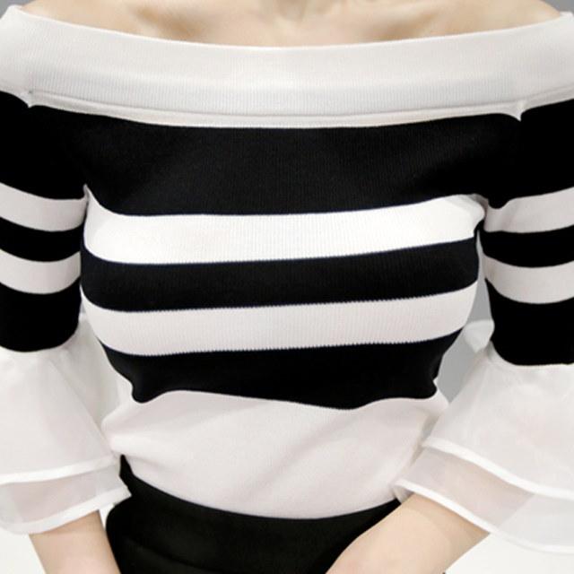 きれいさ注意報メッシュオフショルダーニットkorean fashion style