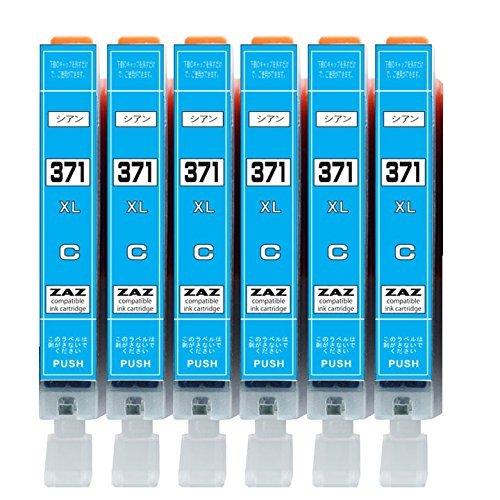[ZAZ] BCI-371XL C シアン6本セット canon 互換インク ICチップ付 残量表示可能 〔 BCI-371XLC シアン 6本 〕 ( BCI-371XL+370XL/6MP