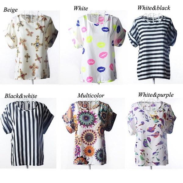 新しいファッション夏の女性プリントシフォンシャツヴィンテージ鳥と6つのスタイルバットウィングスリーブTシャツトップス