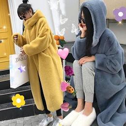 韓国ファッションもこもこボリュームファー もふもふ暖かいボリュームファーコート ゆったりする カジュアル コート レディース 冬