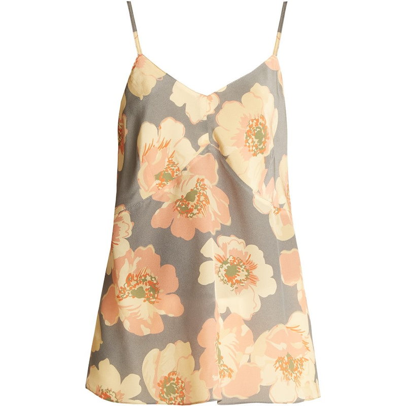 レイ レディース トップス【Bust-cup floral-print silk cami top】Dusty-blue