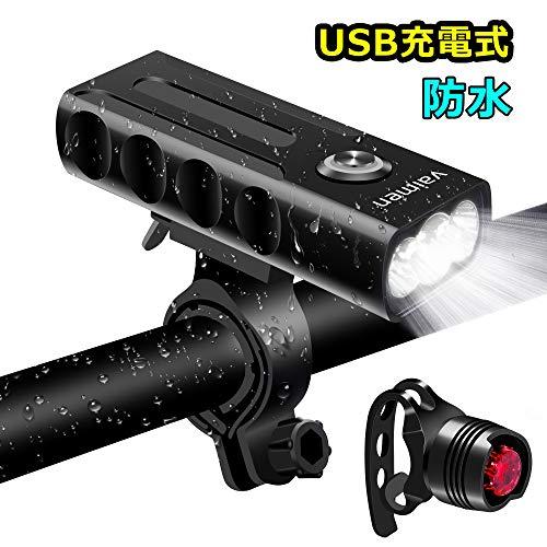 Vaimen 自転車ライト USB充電式 LEDヘッドライト 2600mah大容量 高輝度 懐中電灯兼用 アルミ合金製 IPX5防水 小型 軽量 300メートル以上照射 テールライト付 夜間乗り/キャ