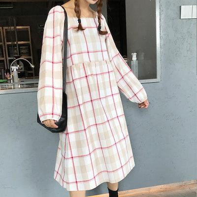 韓国ファッション 少女チェックコットンロングワンピース Girl check cotton long dress