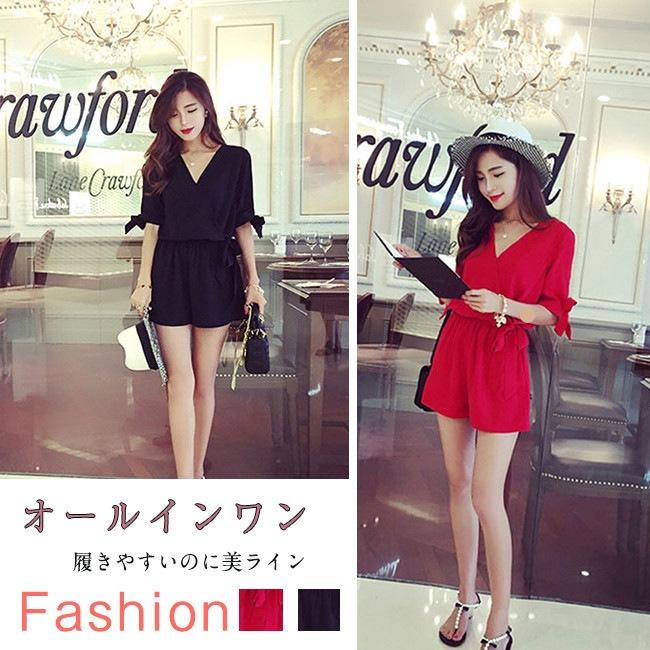 韓国ファッション おしゃれ & オールインワン 無地 レディース ロンパース///シャツ/スカート/Tシャツ オールインワン パンツ 体型