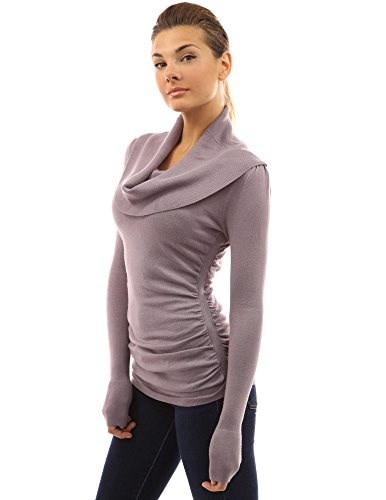 PattyBoutik Womens Cowl Neck Ruched Sides Sweater (Lavender L)