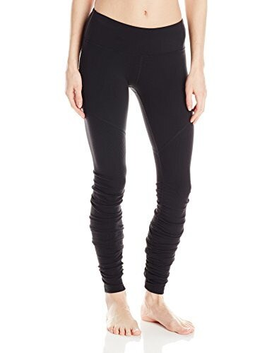 Alo Yoga Womens Goddess Ribbed Legging 2, Black/Black, Medium