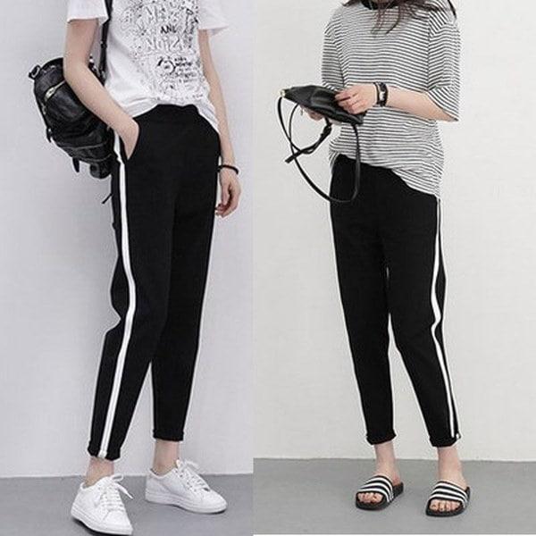 3a6b37490868 ファッション女性のサイドストライプスーツパンツブラックカジュアルズボンヒップホップジョガーパンツ