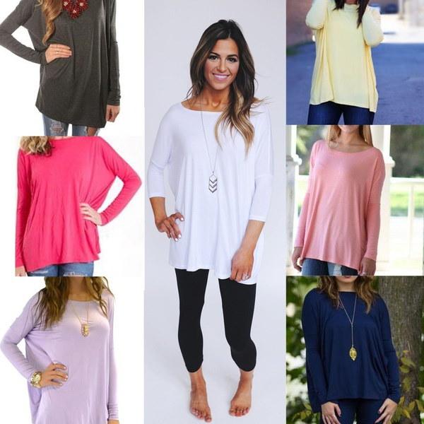 女性の長袖カジュアルオーバーサイズトップTシャツ