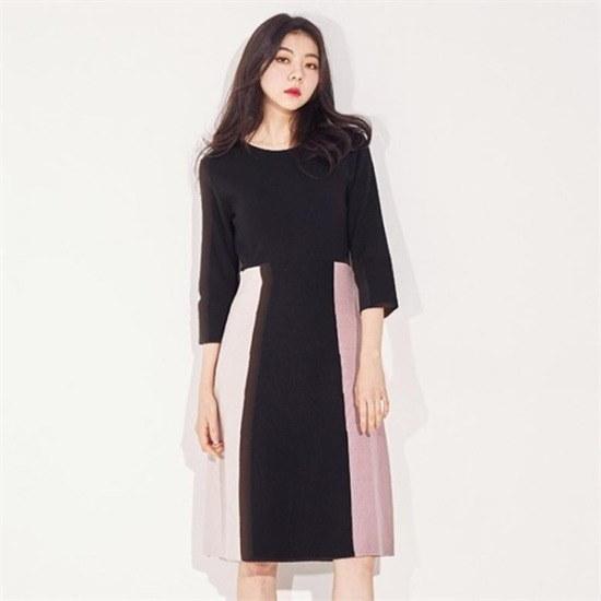 メグジェイMAGJAY行き来するようにメグジェイ配色カラーワンピースJ92POP073 ニット・ワンピース/ 韓国ファッション