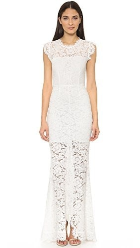 Rachel Zoe Womens Estelle Lace Cutout Back Evening Dress, Pure White, 10