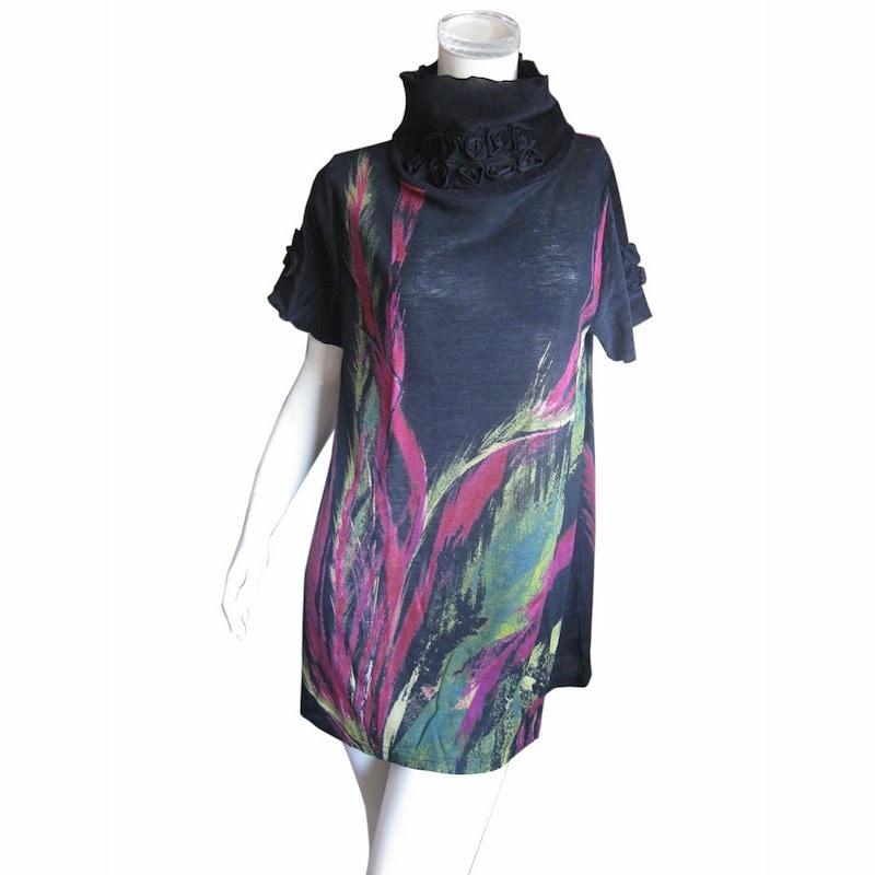 コサージュ風バラが素敵 ウール混半袖チュニックワンピース M