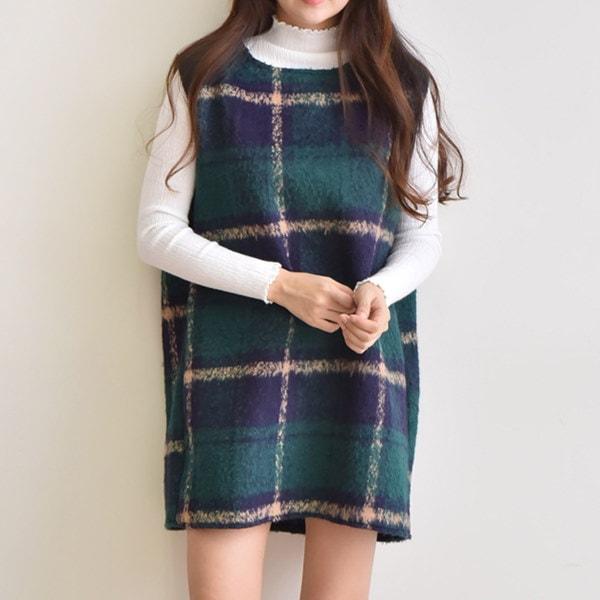 [送料無料]★2COLOR★レイヤードチェックミニワンピース(ops844)/韓国ファッション/かわいいデザイン/ミニマルの長さ