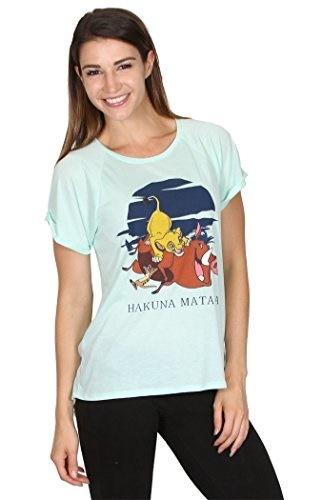 Disney Womens Lion King Hakuna Matata Hi-Lo Cut Shirt Mint Green (M)