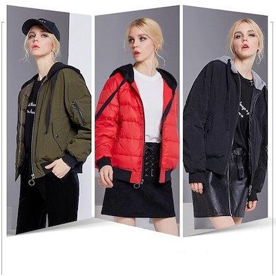 ファッショントップ - ダウンジャケット ダウン ブルゾン 軽量 フード 冬 ダウン70% 2way 防寒 レディース ダウンコート 中綿ジャケット 冬物 暖か アウター