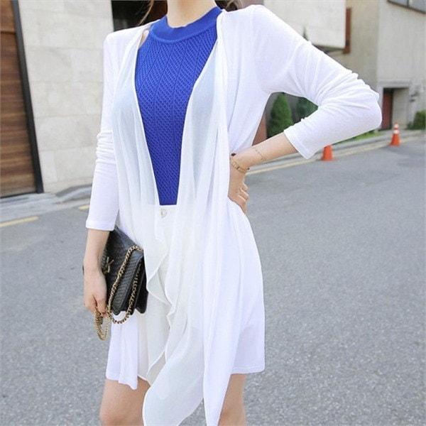 グレープフルーツカディゴンロングカディゴンシフォンカディゴン夏カディゴンビーチウェアnew 女性ニット/カーディガン/韓国ファッション