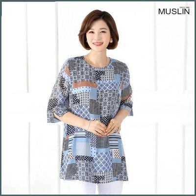 [モスリン]ママの服スクエアパターンのブラウスEBL904029 /シフォン/シースルーブラウス/韓国ファッション