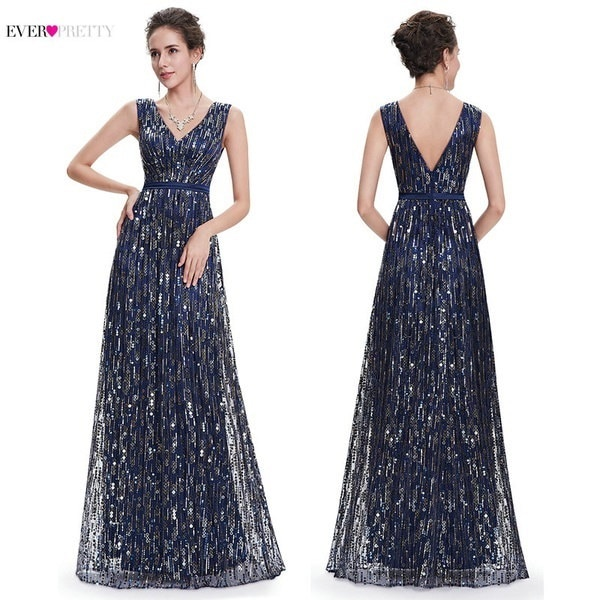 Ever Pretty Women s Fashion Sequins Elegant V-neck Long Prom Dress Party Dresses EP08669