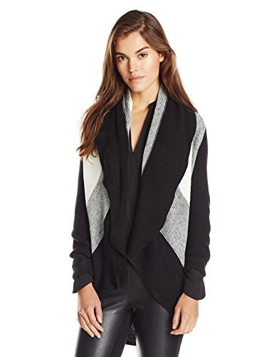 Ark & Co Womens Mix Cardigan, Black/White, Small