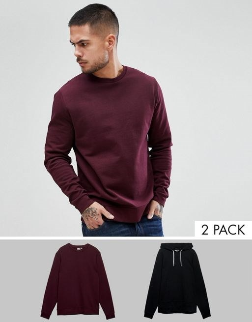 ASOS Sweatshirt And Hoodie 2 Pack Black/Burgundy SAVE