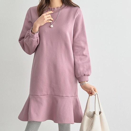 ペッパーの裾フレア起毛ワンピース35023 綿ワンピース/ 韓国ファッション