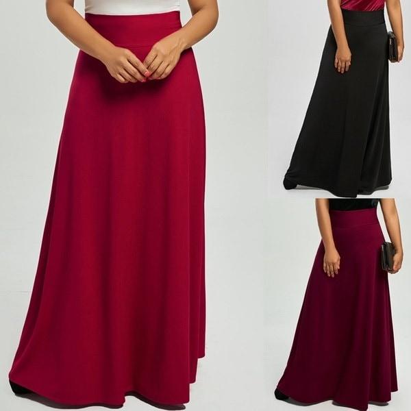 New Women s Fashion Casual Plus Size High Waist Maxi Flare Skirts