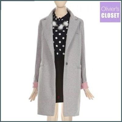 [オルリビエス・クローゼット][ハーフクラブ/オルリビエス・クローゼット]カラ小売配色コート /ロングコート/コート/韓国ファッション