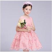1bf599f539aa3 子供ドレス 女の子 レース 姫系 パーティードレス 半袖 ボリューム ピアノ発表会 結婚式 フォーマル