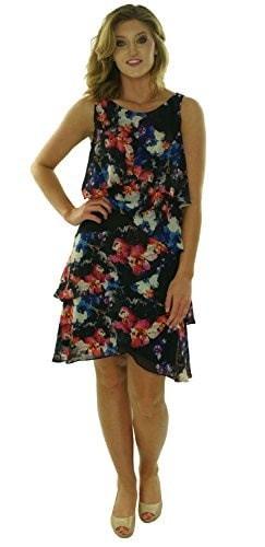 S.L. Fashions Womens Chiffon Tiered Dress Black Floral (16W)
