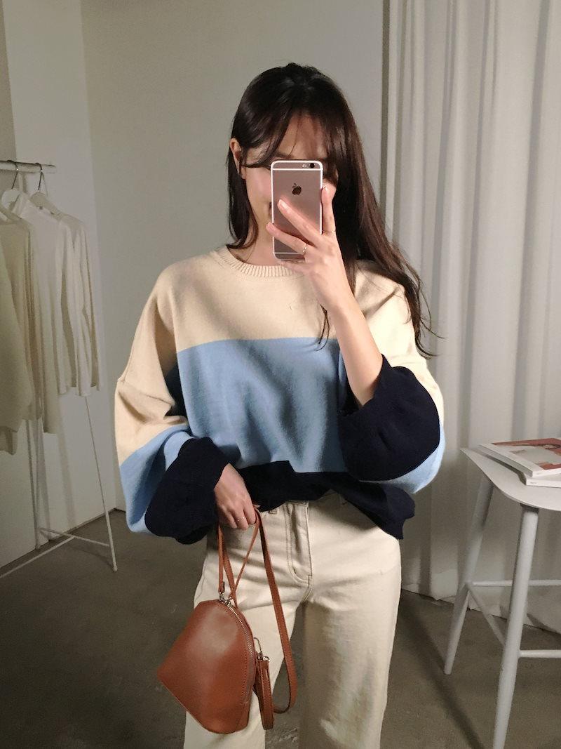 コージー配色ルーズフィットニットkorea fashion style